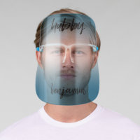 Hubby - Groom in Modern Calligraphy - Blue Face Shield