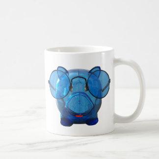 Hucha azul con los vidrios taza de café