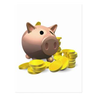 Hucha con el ejemplo de las monedas de oro postales
