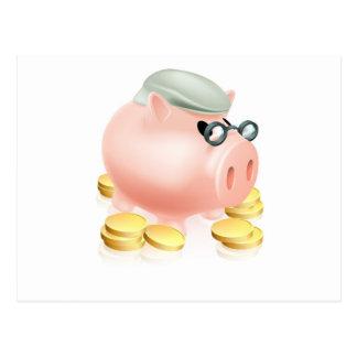 Hucha de la pensión con las monedas postal