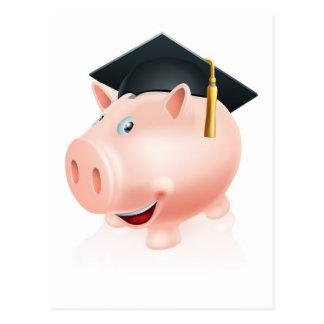 Hucha de los ahorros de la educación tarjetas postales