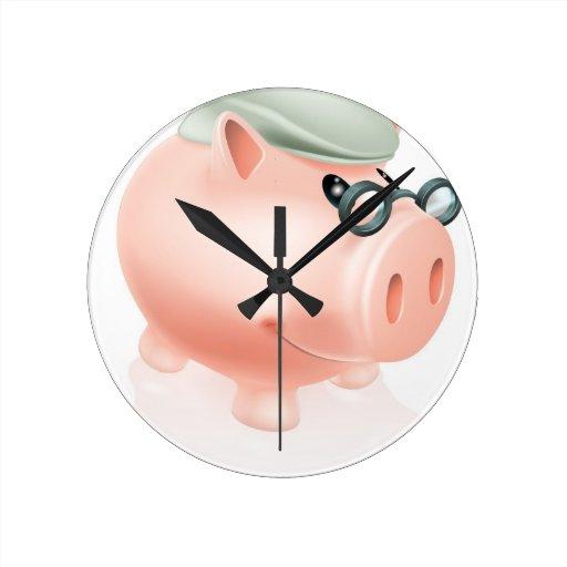 Hucha de los ahorros de la pensión reloj de pared