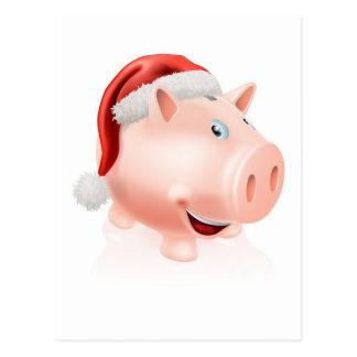Hucha de los ahorros del navidad tarjetas postales
