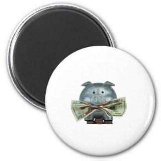 Hucha de plata que come el dinero imán redondo 5 cm
