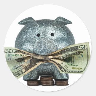 Hucha de plata que come el dinero pegatina redonda