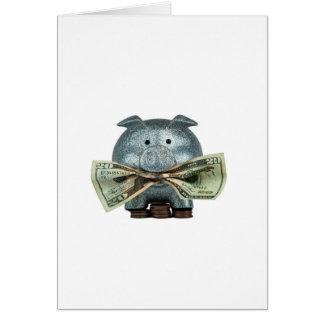 Hucha de plata que come el dinero tarjeta de felicitación