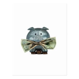 Hucha de plata que come el dinero tarjeta postal