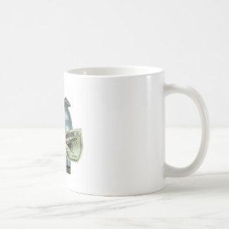 Hucha de plata que come el dinero taza de café