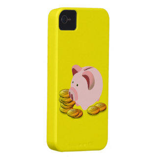 Hucha del dibujo animado y monedas de oro iPhone 4 Case-Mate coberturas