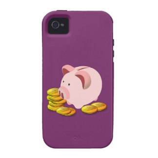 Hucha del dibujo animado y monedas de oro Case-Mate iPhone 4 carcasas