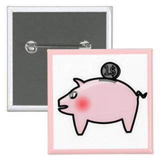 Hucha rosada pin cuadrada 5 cm