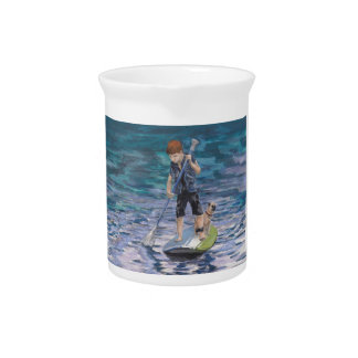 Huck 2015 Boy Adventurer and his Pug dog Drink Pitcher