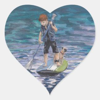 Huck 2015 Boy Adventurer and his Pug dog Heart Sticker