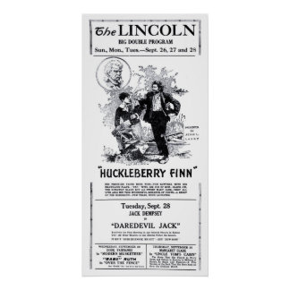 Huckleberry Finn 1921 vintage movie ad poster