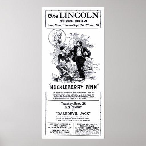 Huckleberry Finn 1921 vintage movie ad poster
