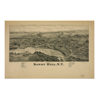 Hudson Falls Sandy Hill New York Map in 1884 Stationery
