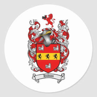 HUDSON FAMILY CREST -  HUDSON COAT OF ARMS CLASSIC ROUND STICKER