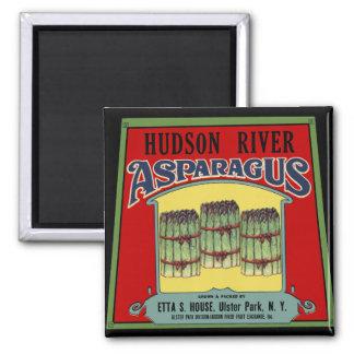 Hudson River Asparagus Label 2 Inch Square Magnet