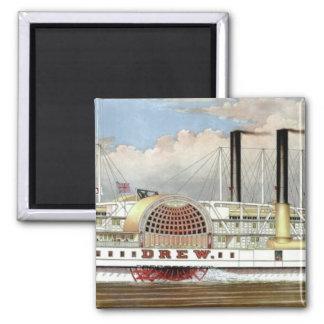 Hudson River Steamer 1877 Bookmark 2 Inch Square Magnet