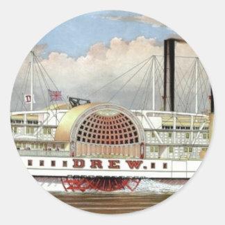 Hudson River Steamer 1877 Bookmark Classic Round Sticker