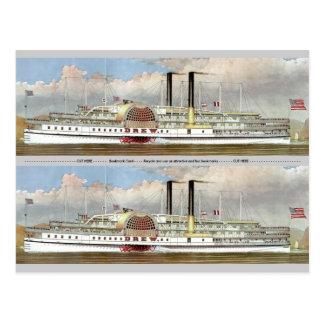Hudson River Steamer 1877 Bookmark Postcard