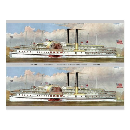 Hudson River Steamer 1877 Bookmark Postcard