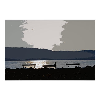 Hudson River Sunset Poster