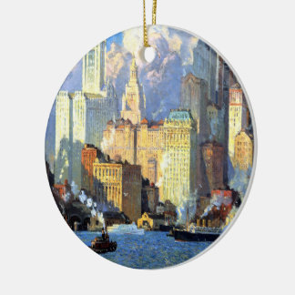Hudson River Waterfront - Colin Campbell Cooper Ceramic Ornament