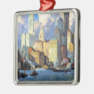 Hudson River Waterfront - Colin Campbell Cooper Metal Ornament