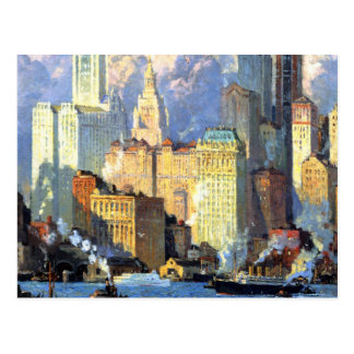 Hudson River Waterfront - Colin Campbell Cooper Postcard