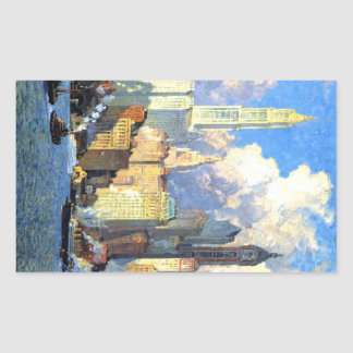 Hudson River Waterfront - Colin Campbell Cooper Rectangular Sticker