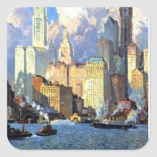 Hudson River Waterfront - Colin Campbell Cooper Square Sticker