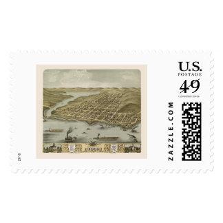Hudson, WI Panoramic Map - 1870 Postage