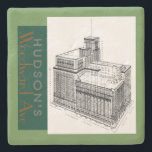 """Hudsons on Woodward Avenue 1881 2001 Stone Coaster<br><div class=""""desc"""">Hudsons on Woodward Avenue Detroit 1881 2001 Original Composition by DigitalTraveler of Michigan</div>"""