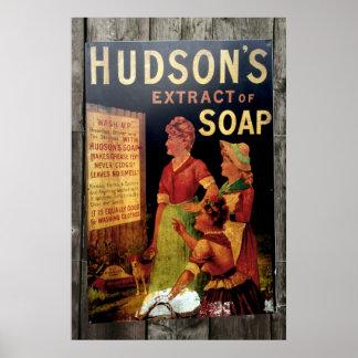 Hudsons Soap Vintage Poster Print