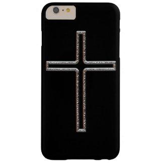 Hueco del crucifijo del cromo funda de iPhone 6 plus barely there