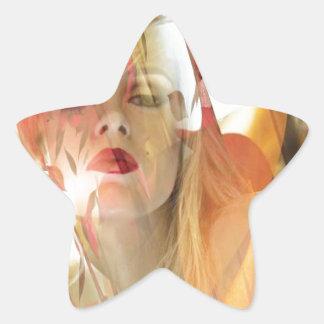 Hueco soñoliento pegatina en forma de estrella