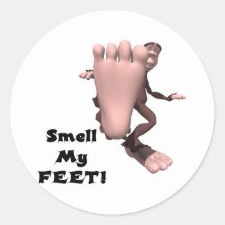 Huela a mi monstruo grande del pie de los pies pegatina redonda