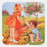 Huela los rosas colcomanias cuadradass