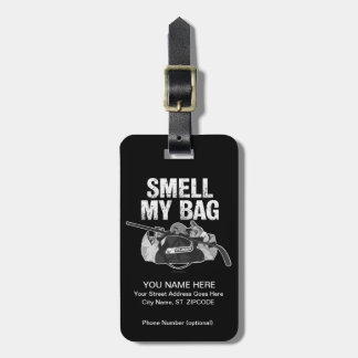 Huela mi bolso (el hedor del hockey) etiqueta para maleta
