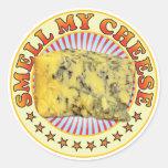 Huela mi queso v3 pegatina redonda