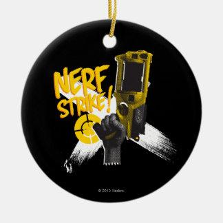 Huelga 2 de Nerf Adorno Navideño Redondo De Cerámica