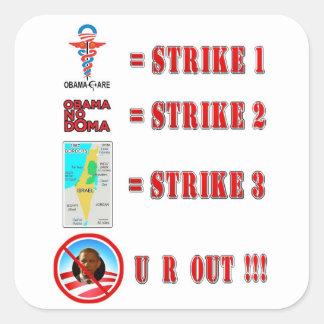 Huelga 3 - ¡U R HACIA FUERA!!! Pegatinas Cuadradases