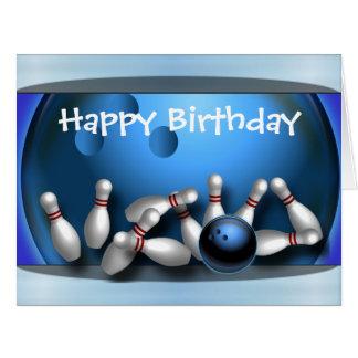 Huelga de la bola de bolos del feliz cumpleaños tarjeta de felicitación grande