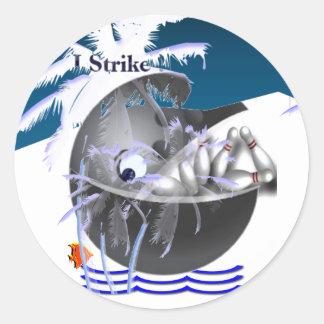 Huelga de los pescados de la ballena de la bola de pegatina redonda