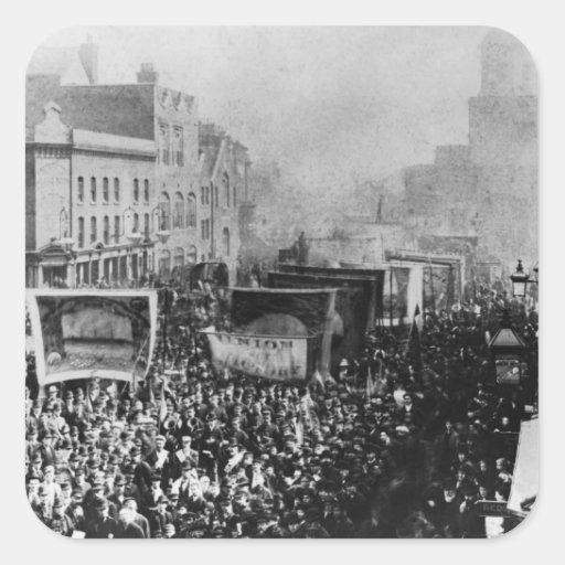 Huelga de muelle de Londres, 1889 Pegatina Cuadrada