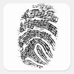 Huella dactilar de la música pegatinas cuadradases personalizadas