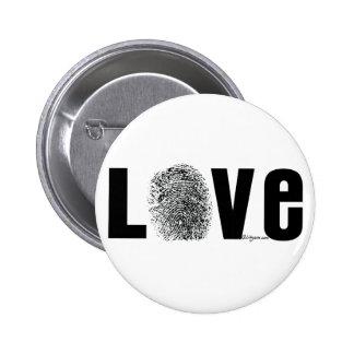 Huella dactilar del amor blanco y negro pin