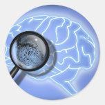 Huella dactilar del cerebro pegatina redonda