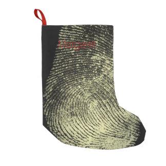 Huella dactilar invertida del lazo calcetín de navidad pequeño